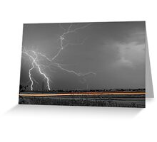 Lightning Thunderstorm DragOn BW Greeting Card