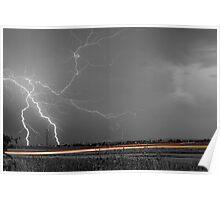 Lightning Thunderstorm DragOn BW Poster