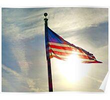 Sun Shining Through US Flag Poster