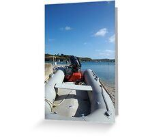 Dinghy boat moored in harbour, Salcombe, Devon, UK Greeting Card