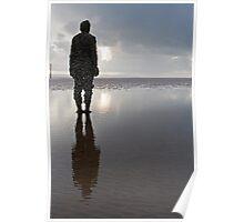 Iron man gazing: Crosby Beach nr Liverpool Poster