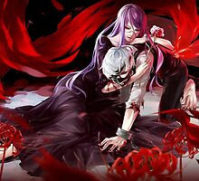 tokyo ghoul kaneki and rize anime design  by tylerlions777