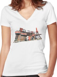 Red Rocket Station Women's Fitted V-Neck T-Shirt