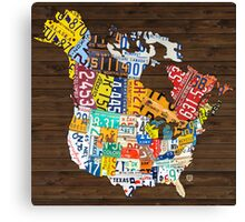License Plate Map of North America - Canada and United States Canvas Print