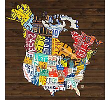 License Plate Map of North America - Canada and United States Photographic Print