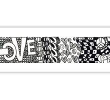 Love & Peace Doodle Border Sticker
