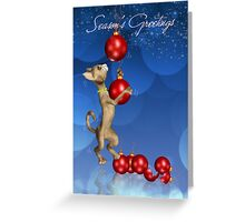 Dangling Cat Christmas Greeting Card Greeting Card