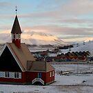 Svalbard Church in Sunset by Algot Kristoffer Peterson