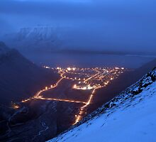 View from Sarkofagen - Misty Longyearbyen by Algot Kristoffer Peterson
