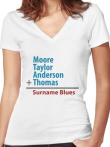 Surname Blues - Moore, Taylor, Anderson, Thomas Women's Fitted V-Neck T-Shirt
