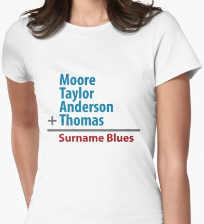 Surname Blues - Moore, Taylor, Anderson, Thomas Womens Fitted T-Shirt
