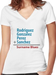 Surname Blues - Rodriguez, Gonzalez, Perez, Sanchez Women's Fitted V-Neck T-Shirt