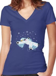 Wampa snow angel  Women's Fitted V-Neck T-Shirt