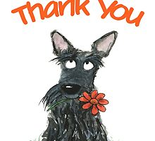 Scottie Dog 'Thank You' greeting card by archyscottie