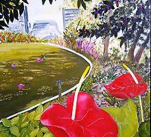 Peace in Roma Street Parklands Brisbane by Kathleen Duronio