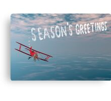 Skywriter with holiday greetings Canvas Print