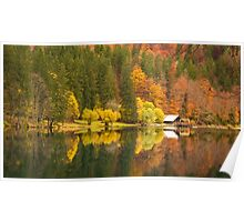 lake of fusine in an moody autumn morning Poster