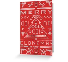 Merry Clonemas (White Text) Ugly Christmas Sweater - Orphan Black Greeting Card