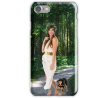 Greek Goddess with dog in a lush forest  iPhone Case/Skin