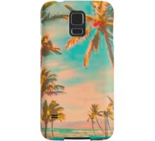 Vintage Hawaiian Beach Scene, Teal Samsung Galaxy Case/Skin