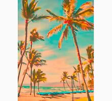 Vintage Hawaiian Beach Scene, Teal Unisex T-Shirt