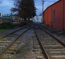 RAILS ALONG RED BUILDING by jclegge