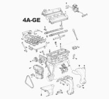 4A-GE Engine Diagram (Bright Colors) Kids Tee