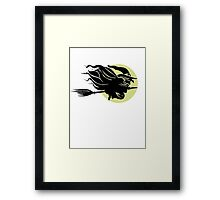 Flying Witch On Broomstick With A Big Moon Framed Print