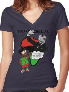 Bootleg Bart Simpson - Nelson Mandela Women's Fitted V-Neck T-Shirt
