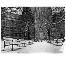 Snowy Benches Poster