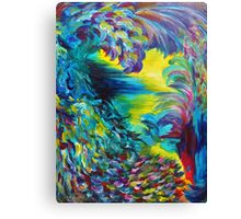 FLIGHT ON TAP - Whimsical Colorful Feathers Fountain Peacock Abstract Acrylic Painting Purple Teal Canvas Print