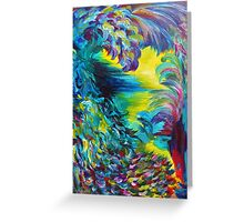 FLIGHT ON TAP - Whimsical Colorful Feathers Fountain Peacock Abstract Acrylic Painting Purple Teal Greeting Card