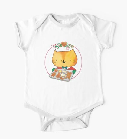 Cute Christmas Cat with Gingerbread Cookies One Piece - Short Sleeve