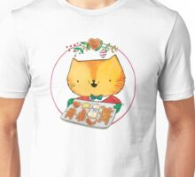 Cute Christmas Cat with Gingerbread Cookies Unisex T-Shirt