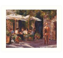 Cafe & Sculpture - San Gimignano, Italy Art Print
