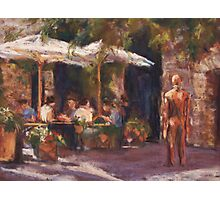 Cafe & Sculpture - San Gimignano, Italy Photographic Print