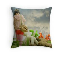 Walking the Colourful Dogs Throw Pillow
