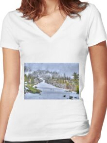 Snowy Road Women's Fitted V-Neck T-Shirt