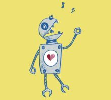 Happy Singing Robot T-Shirt by Boriana Giormova