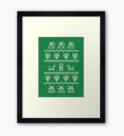 Timey Wimey Christmas (Green) Framed Print