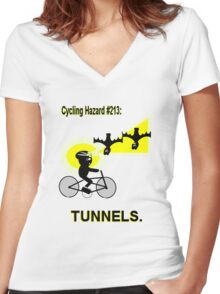 Cycling Hazard #213: Tunnels/Underpasses Women's Fitted V-Neck T-Shirt
