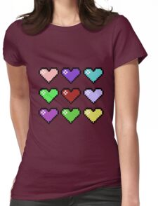 Retro Hearts Womens Fitted T-Shirt