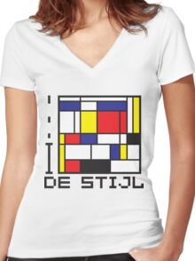I LOVE DE STIJL T-shirt Women's Fitted V-Neck T-Shirt
