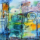 Docks - abstract oil on canvas by Regina Valluzzi