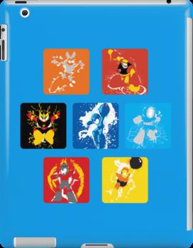 Robot Masters of Mega Man 1 Splatter Art by thedailyrobot