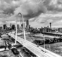 Downtown Dallas Aerial 2012 HDR Black and White by paynewphoto