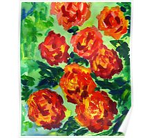 Vibrant Orange Peonies Green Leaves Acrylic Painting Poster
