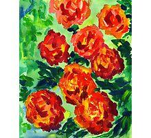 Vibrant Orange Peonies Green Leaves Acrylic Painting Photographic Print