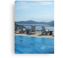 Ios-Santorini: Greek Island Pool's Ocean View Canvas Print