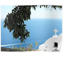 Greek Church by the Ocean Poster
